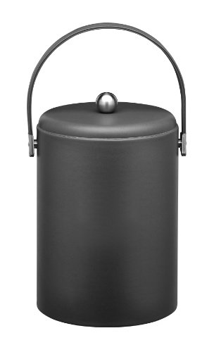 Kraftware Ice Bucket with Stitched Handle, Domed Lid and Chrome Astro Ball Knob, Black - 5 (Leather Ice Bucket)