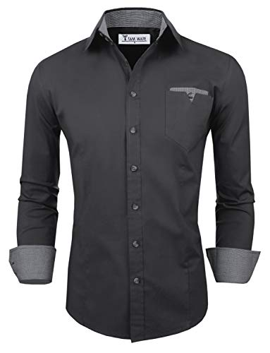 TAM WARE Mens Classic Slim Fit Contrast Inner Long Sleeve Dress Shirts TWNMS310S-8219-CHARCOAL-US XXL