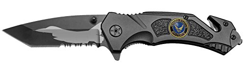 - Tactical Black Spring Assist AIR FORCE Rescue Pocket Knife JET PLANE Tanto Blade with Glass Breaker & Seat Belt Cutter Assisted Combat Knives