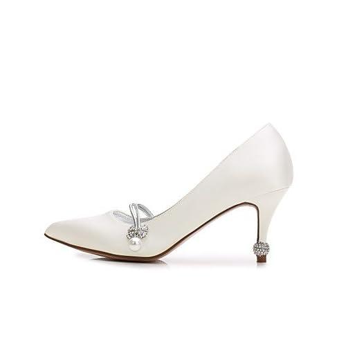 21632fb7fd SHUAI shoes El mejor regalo para mujer y madre Mujer Zapatos Satén  Primavera Verano Confort Pump Básico