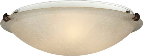 02-32  Flush Mount with Umber Linen Glass Shades, Antique Bronze (Forte Glass Lighting)