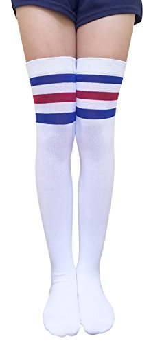 AM Landen Womens Stripe Over Knee Socks Thigh High Socks Elegant Great Quality Stockings For Spring Summer (A. White/ Blue and Red Stripe)
