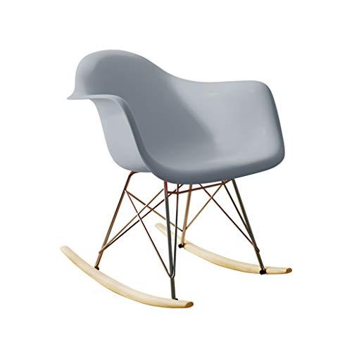 Stol enkel gungstol fåtölj hem ryggstöd stol utomhus lounge stol miljövänlig PP-stol enkel europeisk gungstol (färg: Vit, storlek: 52 x 68 x 67,5 cm)