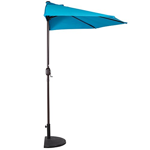 Sundale Outdoor 9 Feet Steel Half Umbrella Table Market Patio Umbrella with Crank and Strap for Garden, Deck, Backyard, Pool, 5 Steel Ribs, 100% Polyester Canopy (Lake -
