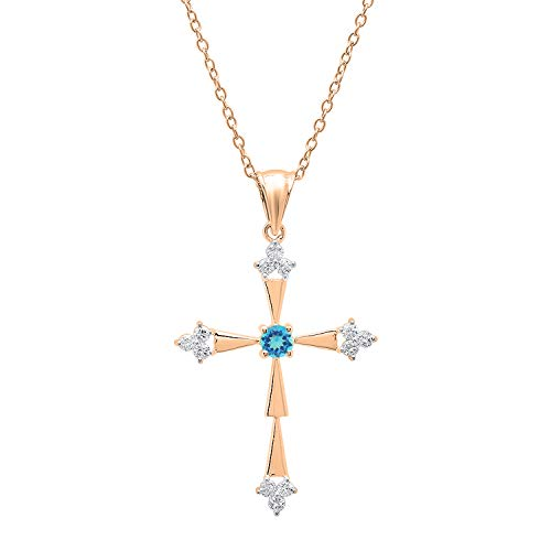- Dazzlingrock Collection 10K Round Blue Topaz & White Diamond Ladies Cross Pendant, Rose Gold