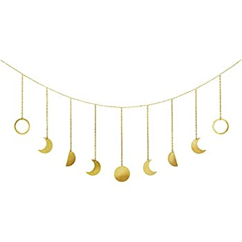 Mkono Moon Phase Garland with Chains Boho Gold Shining Phase Wall Hanging Christmas Ornaments Moon Hang Art Room Headboard Decor for Bedroom Living Room Apartment Dorm Nursery Room Home Office, Gold