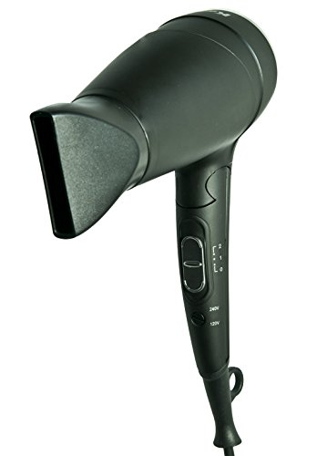 Kadori Professional Travel Blow Salon Hair Dryer Plug N Go, Ceramic, Ionic, with Folding Handle and Dual Voltage 110v/240v