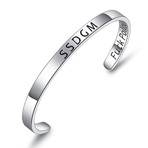 BESTTERN Inspirational Bracelet Cuff Bangle Mantra Quote Keep Going Stainless Steel Engraved Motivational Friend Encouragement Jewelry Gift for Women Teen Girls Sister (SSDGM f@ck Politeness)