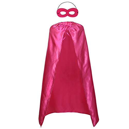 Adults Superhero Capes and Mask Set - Men & Women Cosplay Fancy Cloak-DIY Dress Up Halloween Costume Rose -