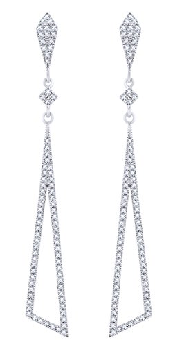 Rount Cut White Natural Diamond Pave Tapered Open-Stiletto Dangle Earring in 14K White Gold (0.40 Ct)