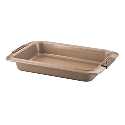 Anolon Advanced Bronze Nonstick Bakeware 9-Inch x 13-Inch Cake Pan with Silicone Grips (Silicone Anolon Cookie Sheet)