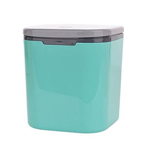 Cdycam Vogue Plastic Auto Waste Receptacles Container with Lid Mini Desktop Wastebasket Fits Kitchen Living Room Car Waste Can (Blue)
