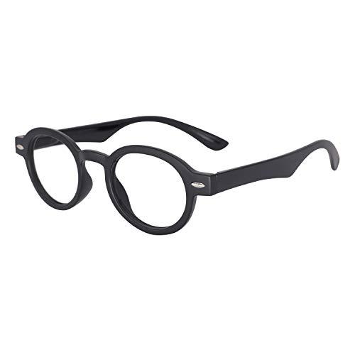 OCCI CHIARI Reading Glasses Readers Women Men Prescription Eyeglasses Computer Eyewear Round(100 125 150 175 200 225 250 275 300 350) Black ()