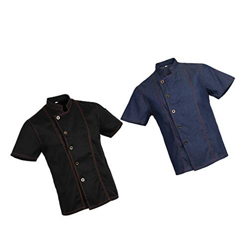 Prettyia 2pcs Unisex Denim Chef Jacket Coat Short Sleeves Shirts Food Service Kitchen Uniforms M