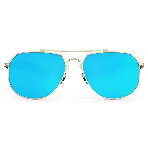 PAERDE Aviator Polarized Sunglasses for Men Women Mirrored Lens Metal Frame Glasses with Spring Hinges PA600 (C5 Gold Frame/Blue Mirrored Lens)