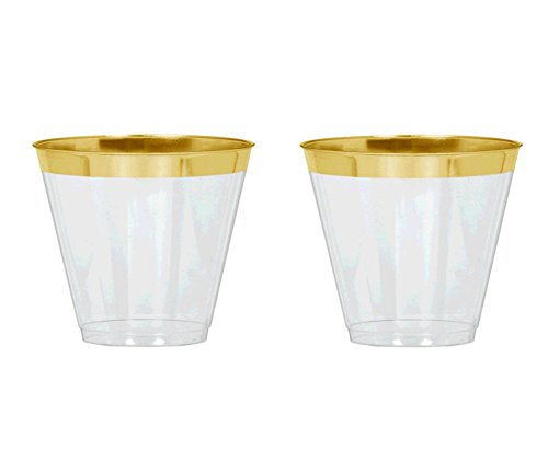 48 Count Gold Rimmed Clear Plastic Tumblers 9 oz capacity | Perfect for Weddings, Holidays and - Goblet Rim Gold