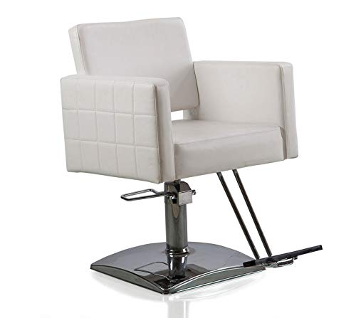 FlagBeauty White Hydraulic Barber Styling Chair Hair Beauty Salon Equipment Square Base
