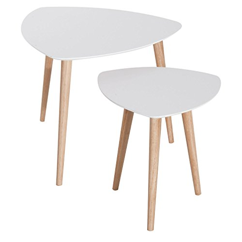 HOMCOM Modern Danish Style Wooden Nesting Accent Side Table 2 Piece Set - White