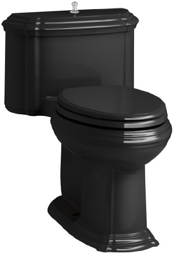 KOHLER K-3826-7 Portrait Comfort Height Compact Elongated 1.28 GPF Toilet with Aqua Piston Flush Technology and Lift Knob Actuator, Black