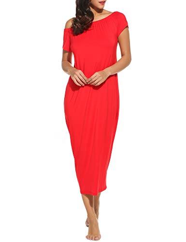 ACEVOG Womens Long Dresses Plus Size Short Sleeve Loose Waist Maxi Dress Maternity Dress (Large, Red)