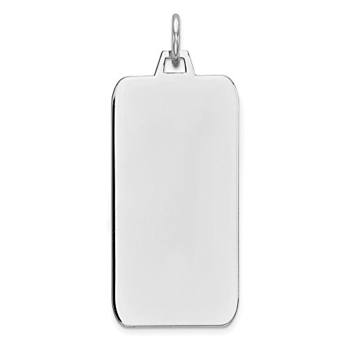 925 Sterling Silver Rhod Plate Eng. Rect. Polish Front Back Disc Pendant Charm Necklace Engravable Square Rectangle Rectangular Fine Jewelry Gifts For Women For Her