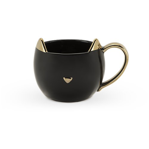 taza de café gato negro ceramica
