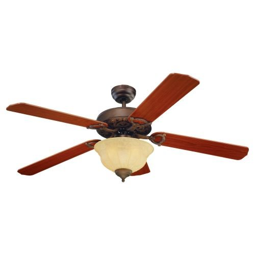 Inch Elite Ceiling 52 Fan (Monte Carlo 5OR52RBD Ornate Elite 52-Inch 5-Blade Ceiling Fan with Light Kit and Teak Blades, Roman Bronze)