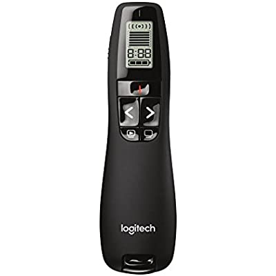 Logitech R700 Wireless Presentation Remote  2 4 GHz with Nano USB-Receiver  Red Laser Pointer  Slideshow Buttons  30-Meter Operating Range  LCD-Display for Time Tracking  Buttons  for Black