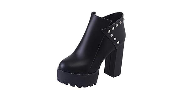 ZARLLE_Botas Botas,Botines cuña para Mujer Otoño Invierno 2018 Moda tacón Alto de Vestir para Mujer Retro Botines Zapatos Fiesta de Invierno: Amazon.es: ...