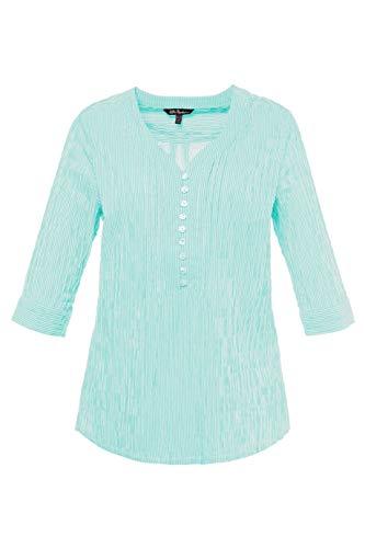 Ulla Popken Women's Plus Size Seersucker Textured Stripe Blouse Medium Turquoise Stripe 16/18 698014 46 ()