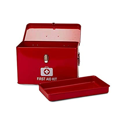 Mind Reader Vintage First Aid Box Empty, Household Storage Supply Box, Emergency Kit Organizer Tin, Removable Tray with Side Handles, Large by EMS Mind Reader LLC