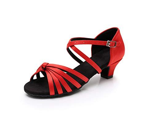 Es niñas estándar Modelo Latino Swdzm De Ballroom Rojo Satén Baile Mujer Zapatos Baile xgg qwwFB