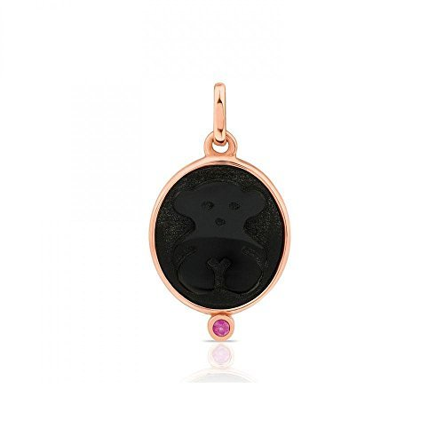 (TOUS Onyx and Ruby Camee Rose Gold Plated Pendant)