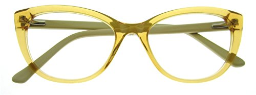 OCCI CHIARI Fashion W-CARIVI Acetate Eyeglasses Frame With Clear Lenses (Yellow, - Eyeglasses Frame Yellow