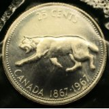 1967 Silver Canada 25 Cents -- Canadian Lynx -- Brilliant Uncirculated