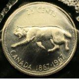 1967 Silver Canada 25 Cents -- Canadian Lynx -- Brilliant Uncirculated