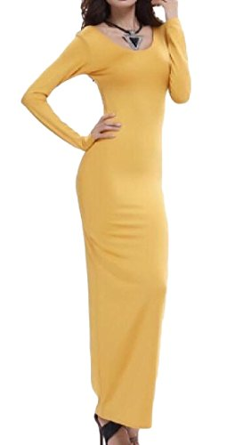 Coolred Autumn Dress Women Chest Winter Club Wrapped Maxi Yellow Vogue CCFTxq