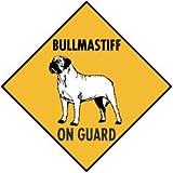 Warning! Bullmastiff On Guard Aluminum Dog Sign, 12 x 12