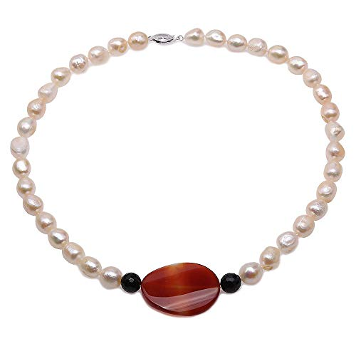 (JYX Pearl Necklace 10-11.5mm Baroque White Cultured Freshwater Pearls with Oval Red Agate Pendant Necklace for Women 19.5