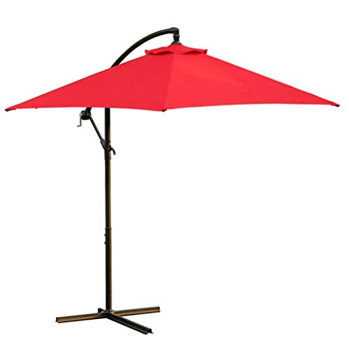 Rectangular Patio Outdoor Living Solid Color Umbrellas, Sttech1 Garden Umbrella with Crank Table Market Umbrella (Ship from USA, Red)