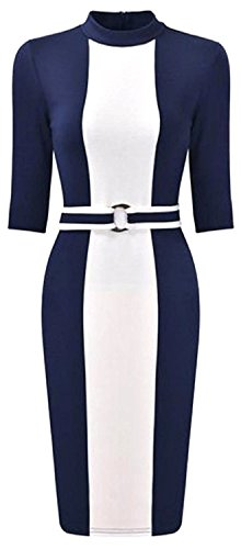Women's Bodycon Round Neck Fashion Slim Package Hip Dress Navy BlueMedium (Adelaide Dress Hire)