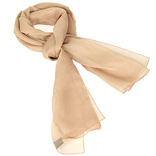 Women Solid Chiffon Silky Oblong Neckerchief Scarf, Beige