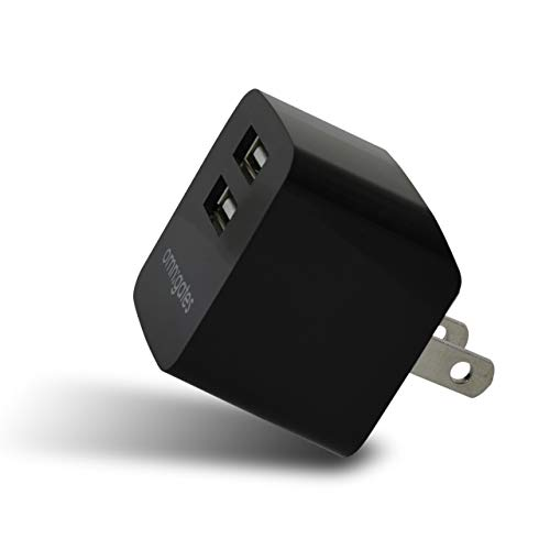 Retractable Wall Travel Charger (Omnigates Smart Wall Charger USB 2-Port Portable/Travel Retractable Outlet Plug Compatible with iPhone, iPad, Samsung Galaxy, LG and All Smartphones/Tablets with USB Charging, UL Certified [Black])