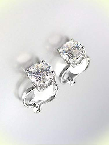 EXQUISITE White Gold Plated 2.00 CT 8mm CZ Crystal Solitaire CLIP Earrings For Women Set