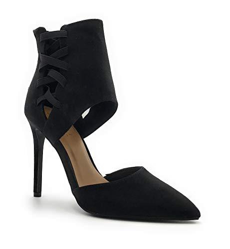 Anne Michelle High Heel Closed Pointed Toe Zipper Closure Women's Fashion Stilletos Shoes Black 8 M US