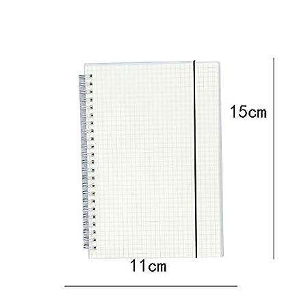 Quaderno con copertina rigida trasparente a spirale taccuino riempito di alta qualit/à in carta spessa Msyou per scuola e ufficio 15 * 11cm White Grid