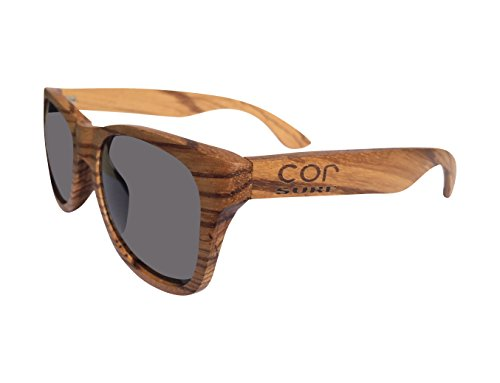 Polarized Genuine Handrafted Zebrawood Wood Sunglasses and Free Bamboo Case / Wayfarer Style / Lenses / 5 Year - Stock Bans Ray