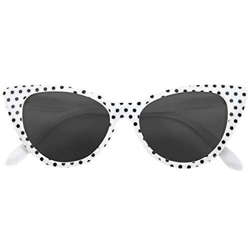 OWL Cateye Sunglasses for Women 1950s UV White Black Polka Dots Frame Smoke -