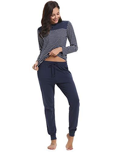 style Sleepwear in Donna da Top 2 1 Set Aibo Camicia T pantaloni pezzi shirt cotone notte Blue Dark manica con tUqxww
