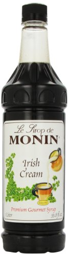 Monin Flavored Syrup, Irish Cream, 33.8-Ounce Plastic Bottles (Pack of 4)